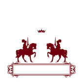 Red frame banner with crown. — Stock Photo