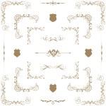 Vector set of gold decorative horizontal floral elements, corne — Stock Photo #24271835