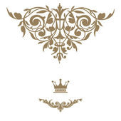 Elegant gold frame banner with crown. — Stock Photo