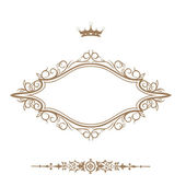 Elegant royal frame with crown isolated on white background.. — Stock Photo