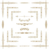 Vector set of gold decorative horizontal floral elements, corne — Photo