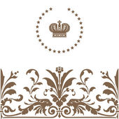 Elegant gold frame banner with crown — Stock Photo
