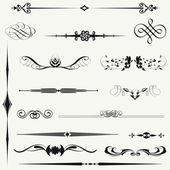 Vecteur défini calligraphique élément et page décoration. — Photo