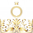 Elegant gold frame banner with crown, floral elements on the or — Stock Photo
