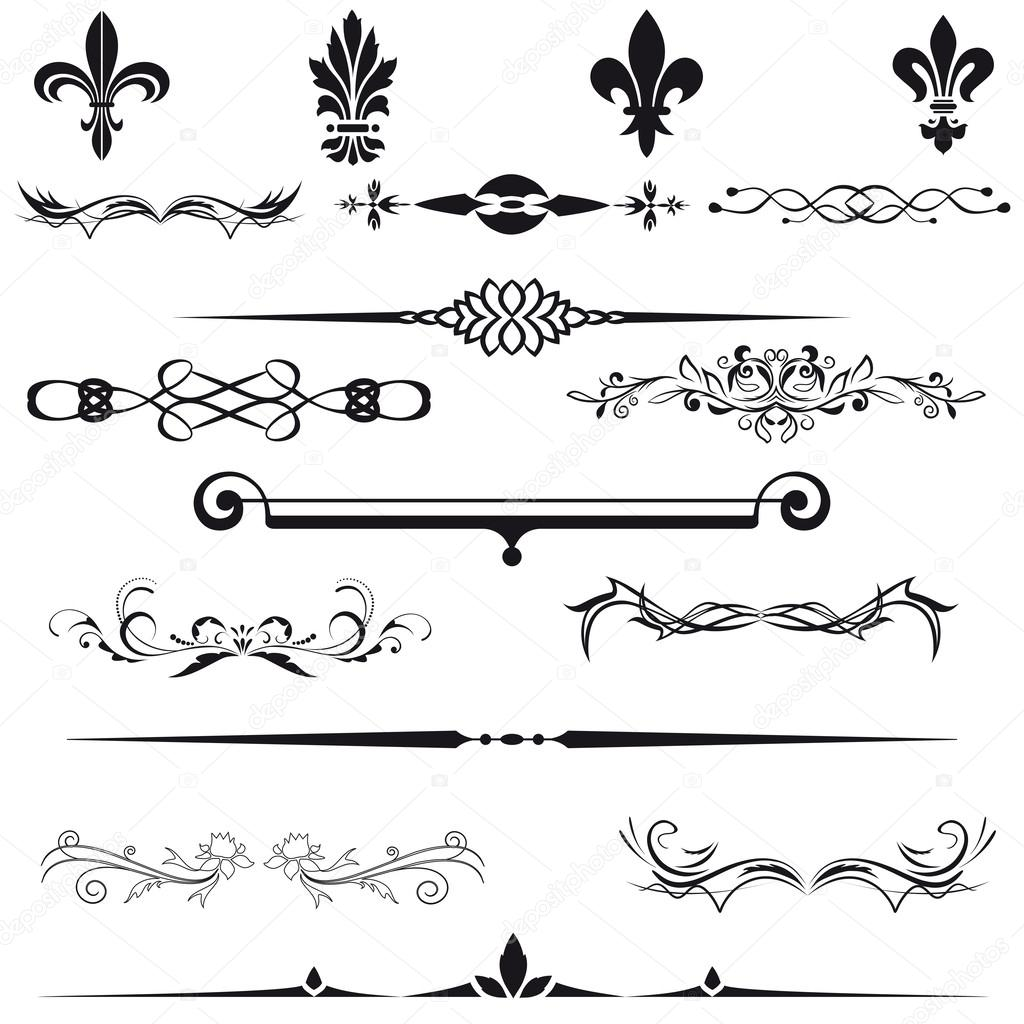 Vector set calligraphic element and page decoration for Decoration page