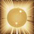 Sparkling gold disco ball and lens flares  — Stock Photo