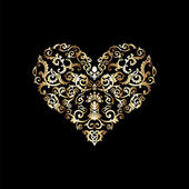 Black and gold vintage greeting card with heart shape — Stock Photo