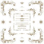 векторный набор золотых декоративных горизонтальных цветочных элементов, корн — Стоковое фото