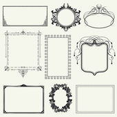Set of vintage frames and design elements - vector illustration — Stock Photo