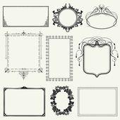 Set of vintage frames and design elements - vector illustration — Stock Photo