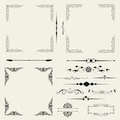 Vector set of decorative horizontal floral elements. — Stock Photo