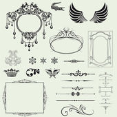 Vector set of decorative horizontal elements, border and frame. — Stock Photo