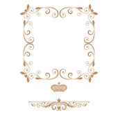 Elegant royal frame with crown isolated on white background!! — Stock Photo