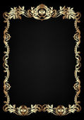 Vintage black background, antique gold frame.. — Stock Photo