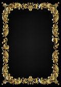 Vintage black background, antique gold frame... — Stock Photo