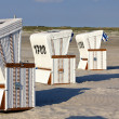 Beach wicker chairs strandkorb in Northern Germany. North sea — Stock Photo