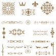 Stok fotoğraf: Vector set of decorative horizontal floral elements, corners, b