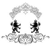 优雅的黑色框架横幅花卉元素!!! — 图库照片