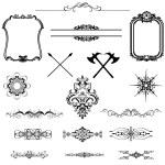Vector set of decorative horizontal floral elements, corners, — Stock Photo #28628559