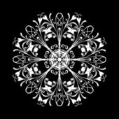 Vector flowers patterns on a black background — Stock Photo