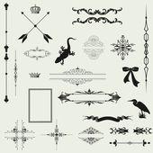 Vector set of decorative horizontal floral elements, corners, — Stock Photo