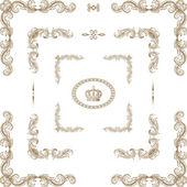 векторный набор декоративных горизонтальных цветочных элементов, уголки, — Стоковое фото