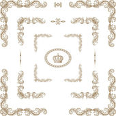 Vector conjunto de horizontales elementos florales decorativos, esquinas, — Foto de Stock
