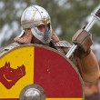 Stock Photo: Portrait of viking or slav with hauberk and helmet!