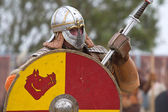 Portrait of viking or slav with hauberk and helmet! — Stock Photo