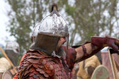 Portrait of viking or slav with hauberk and helmet — Stock Photo