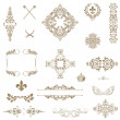 Vector set of gold decorative horizontal floral elements, corne — Foto de Stock