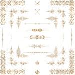 Vector set of gold decorative horizontal floral elements, corne — Stock Photo