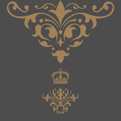 Elegant gold frame banner with crown... — Stock Photo