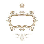 Elegant royal frame with crown isolated on white background. — Stock Photo