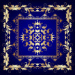 Illustration vintage blue frame with vegetable gold(en) pattern — Stock Photo