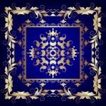 Illustration vintage blue frame with vegetable gold(en) pattern — Stock Photo #32528949