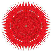 Decorative red frame with vintage round patterns on white — Stock Photo