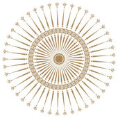 Decorative gold frame with vintage round patterns on white. — Stock Photo