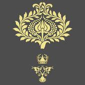 Elegante goldrahmen banner mit krone, florale elemente — Stockfoto