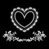 Black and white vintage greeting card with heart shape.... — Stock Photo