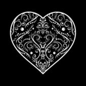 Black and white vintage greeting card with heart shape — Stock Photo