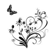 Decorative vector ornament. Vector floral ornament with butterf — Stock Photo