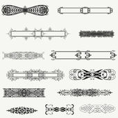 Vector set decorative horizontal floral elements, corners, bord — Stock Photo