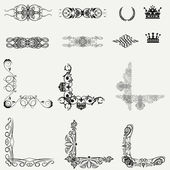 Vector set decorative horizontal floral elements, corners, bord — Stock Photo