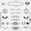 Vector set of floral elements, corners, borders, frame, crown — Stok fotoğraf
