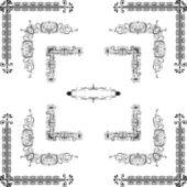 Vector set of decorative floral elements, corners, borders, f — Stock Photo