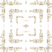 Vector set of decorative floral elements, corners, borders — Stock Vector