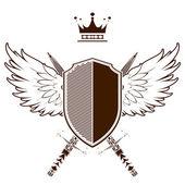 Retro grunge heraldic shield — Vector de stock
