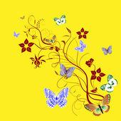 Kartı dal ve kelebekler — Stok Vektör