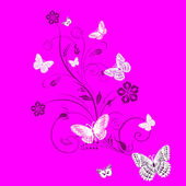 Card with a branch and butterflies — Stock Vector